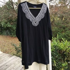 Lands' End Black Gauze White Embroidered Coverup